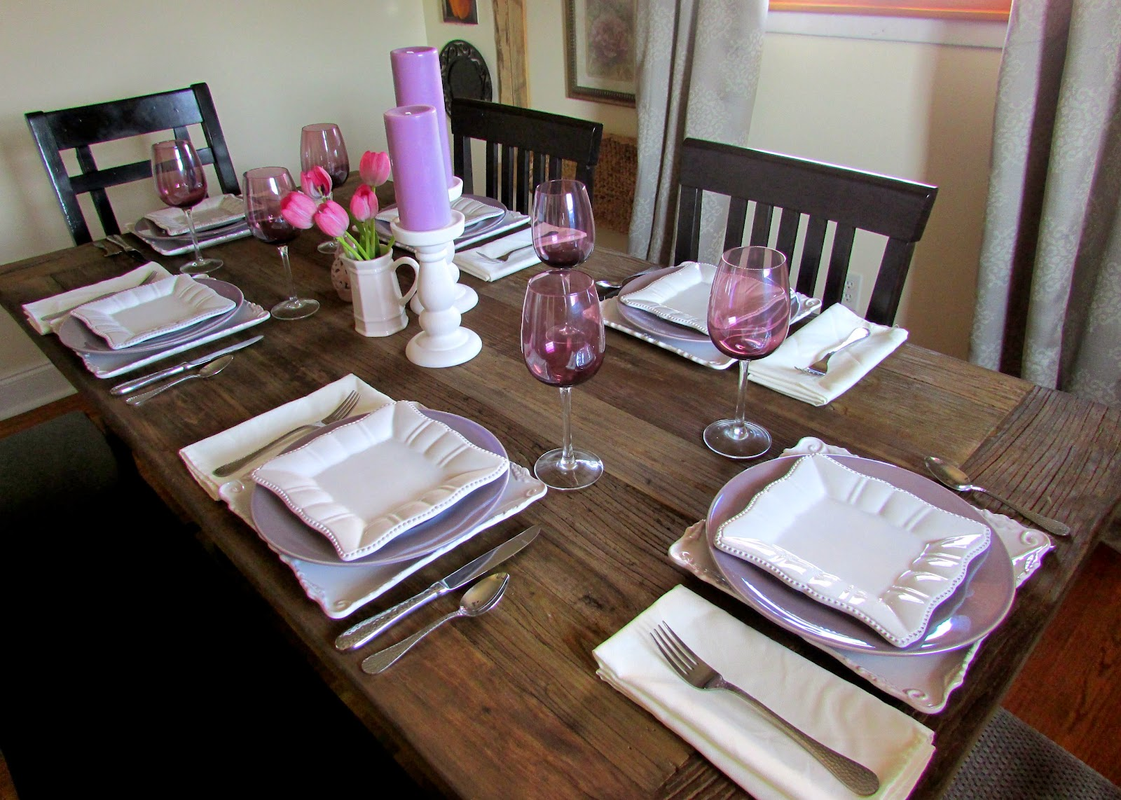 New RH Dining Table & Purple and WHite Tablescape
