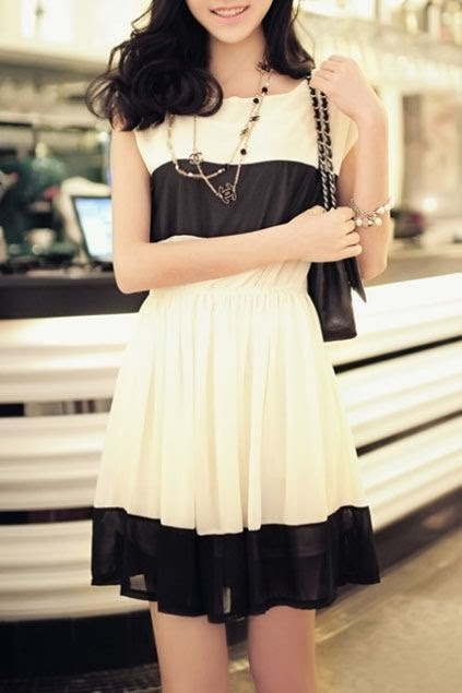 Cream Color&Black Dress With Leather Bag