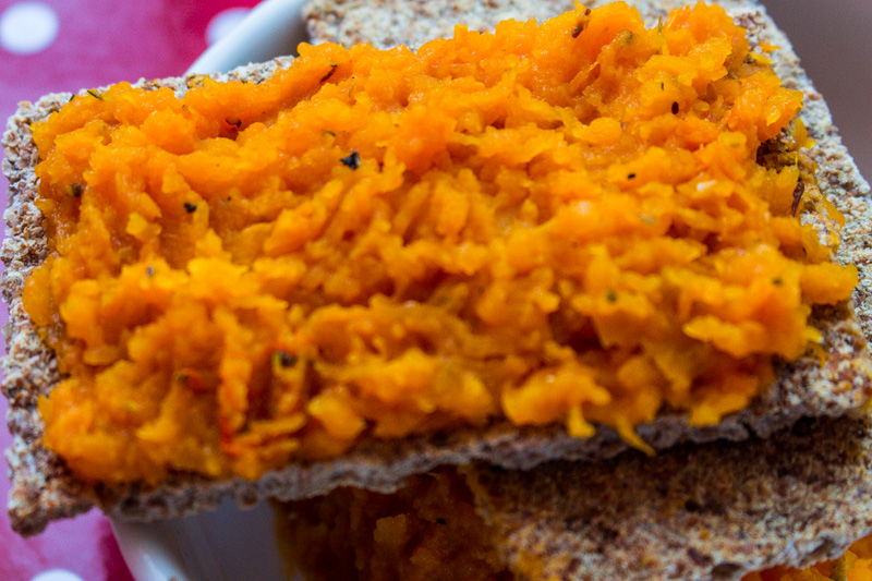 Butternut squash spread on Ryvita crispbread
