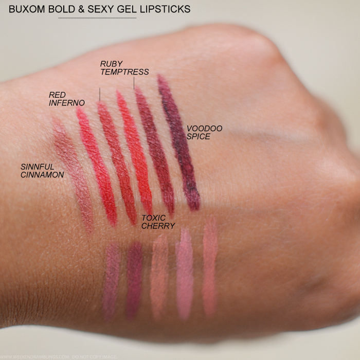 Buxom Big Sexy Bold Gel Lipsticks Swatches Sinnful Cinnamon Red Inferno Toxic Cherry Ruby Temptress Voodoo Spice