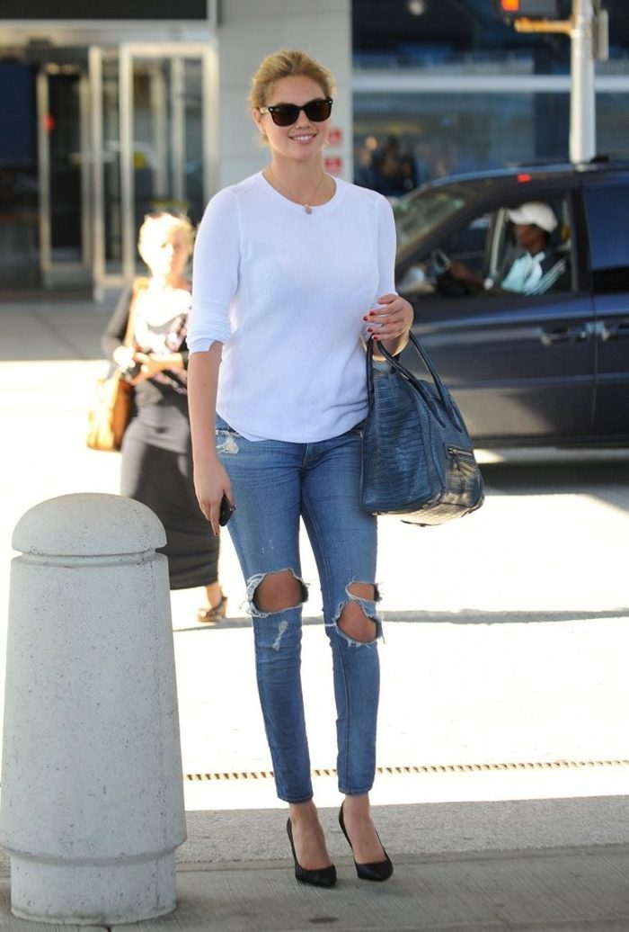 Kate Upton in Jeans, Arriving on a Flight at JFK Airport in NY