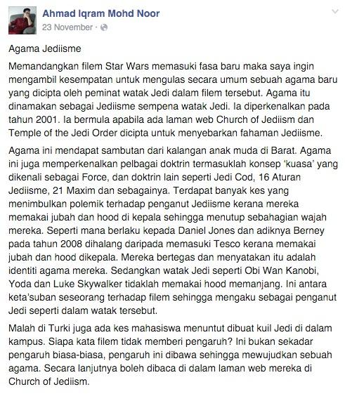 Peminat Star Wars dipengaruhi ajaran Jediisme?