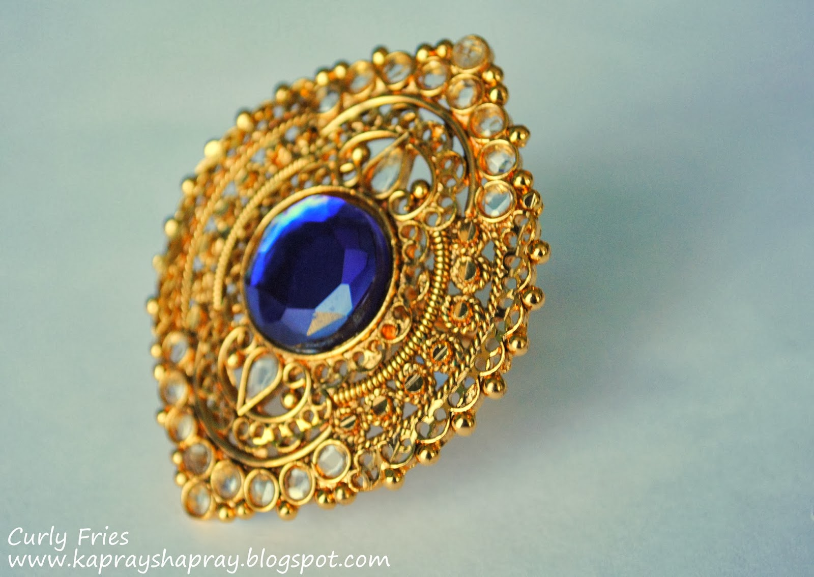 Curly Fries GLAMOROUS ACCESSORIES A Delicate Gold Amp Royal Blue Ring