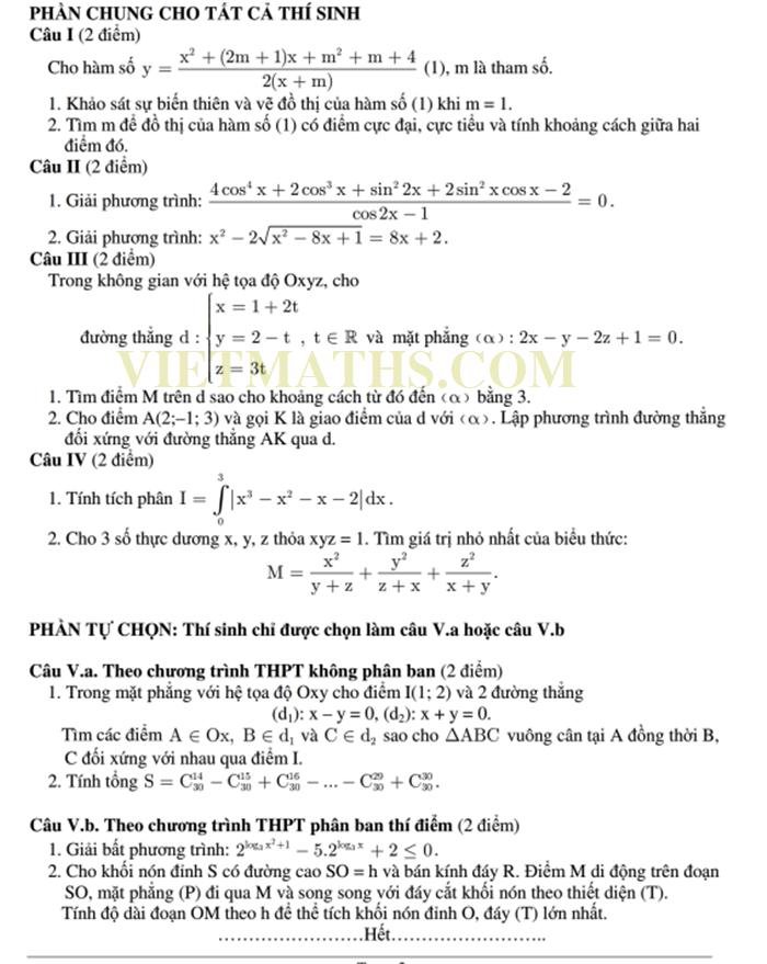 1070 đề thi thử đại học môn Toán năm 2014 có đáp án, 1070 de thi thu dai hoc mon toan 2014 co dap an