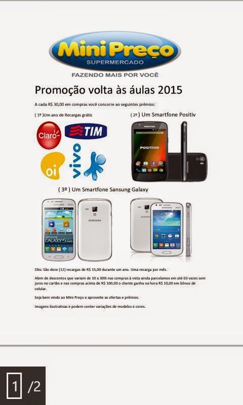 Mini Preço Super Mercado Fazendo Mais Por Você Promoção volta às áulas 2015