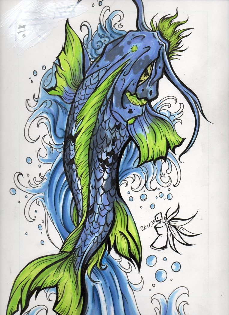 Zodiac tattoo designs there is only here koi fish tattoos for Blue koi fish tattoo