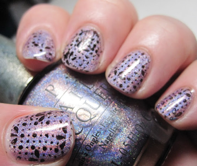 OPI DS Original holographic polish with stamping