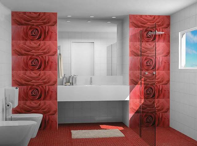 banheiro branco e vermelho