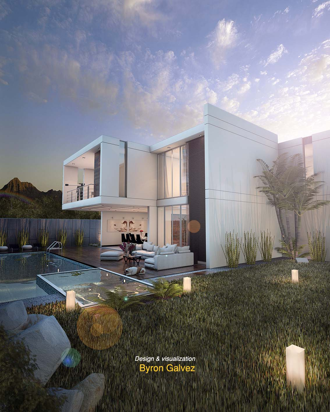 House With Pool 38 Sunset Scene Vray 2 0 Render By Byron Galvez
