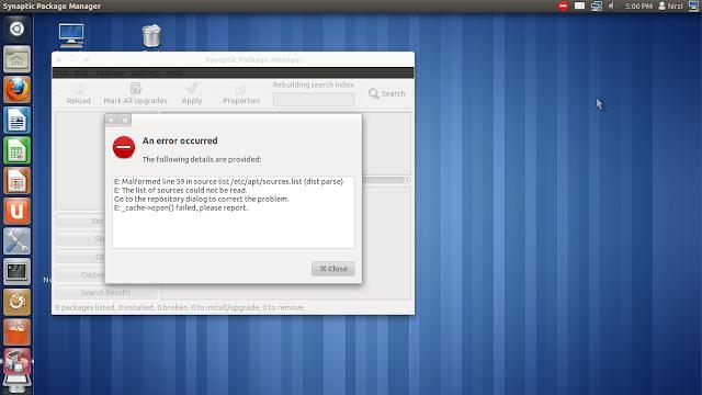 cara mengatasi masalah ubuntu software center  dan synaptic package menager yang tidak bisa terbuka