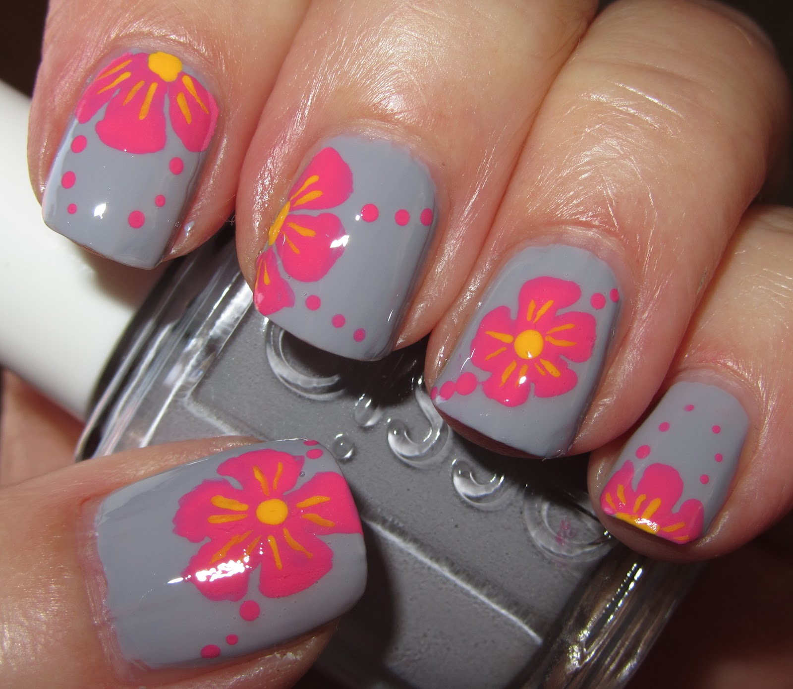 Pink Flower Nail Design Tropical pink flowers on grey