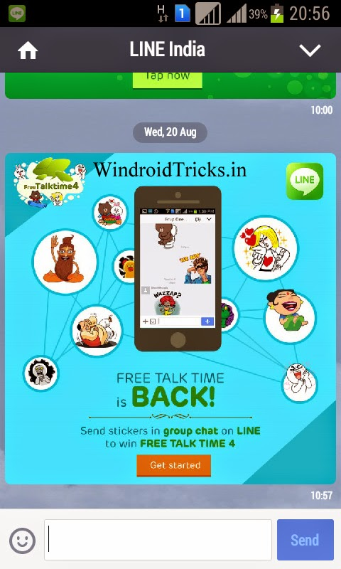 Free Recharge using Android App LINE