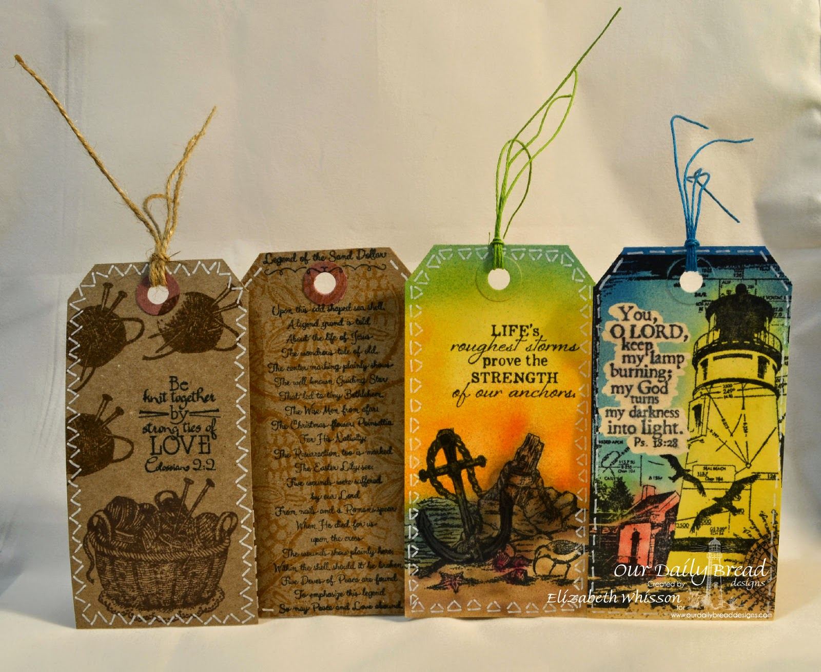 Our Daily Bread Designs, tags, Elizabeth Whisson, ODBD, ODBDDT, Hand Knit, faux stitching, Ocean Treasures, Sand Dollar Bookmark, Anchor the Soul, Keep my Lamp burning, Psalm 18:28, Colossians 2:2, bible verse, Copic aribrush