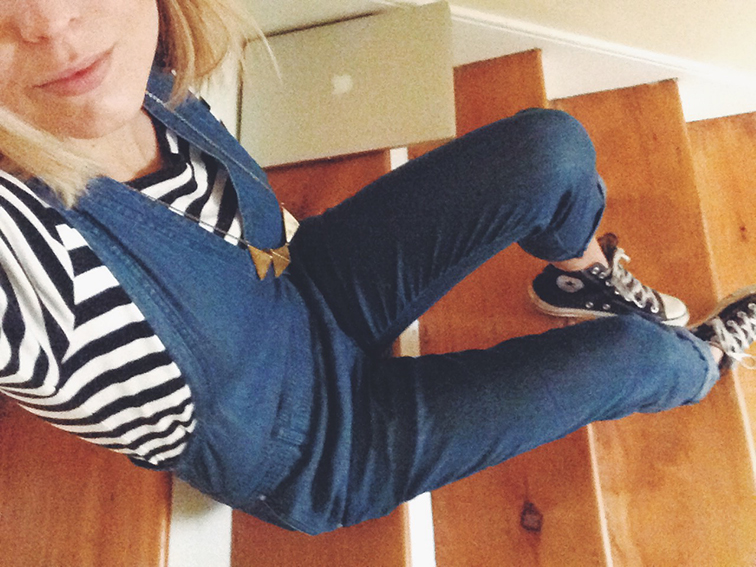 Fashion Over Reason in overalls Club Monaco denim, Uniqlo striped shirt, Converse Chuck Taylor