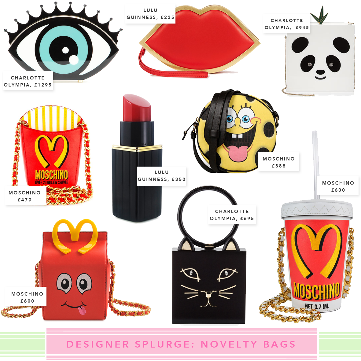 moschino fast food, quirky bags, novelty bags, quirky accessories