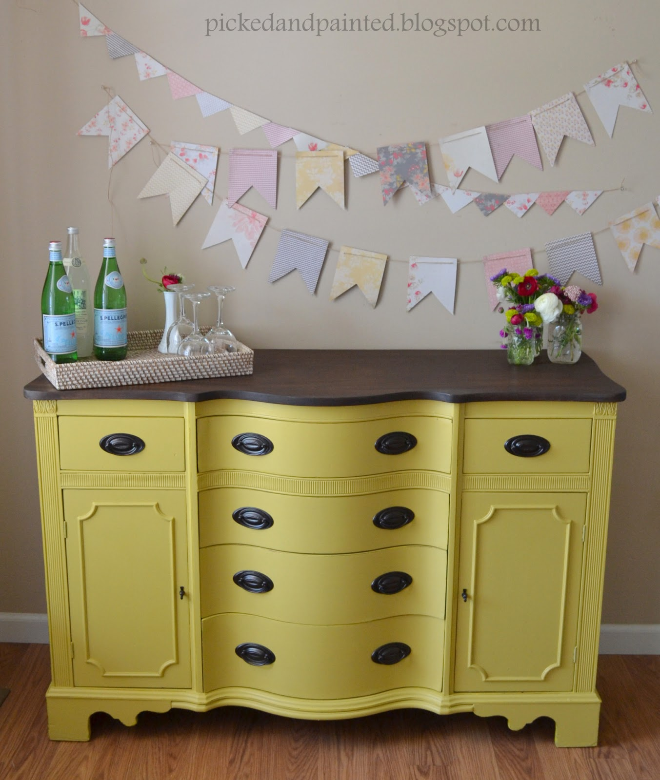 Mustard Kitchen Paint: Helen Nichole Designs: Custom Mustard Yellow Buffet