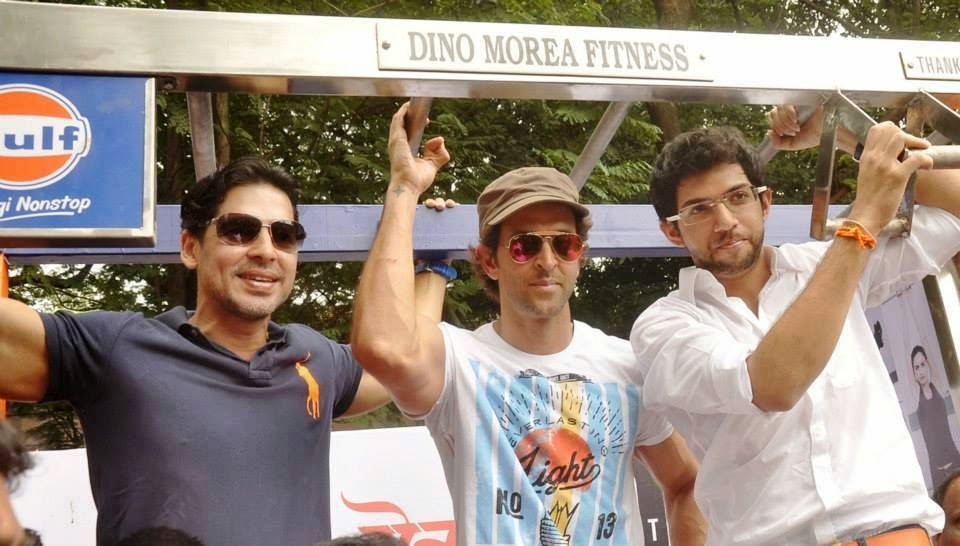 Hrithik at the launch of Dino Morea's, DM Fitness Station