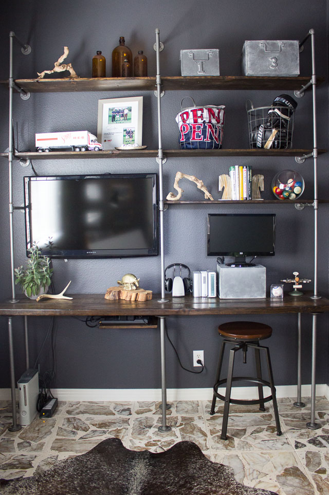 Diy industrial pipe and wood shelves tips and tricks for Man cave desk
