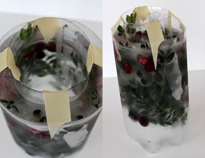 What containers to use to make frozen ice candle holders in the winter.