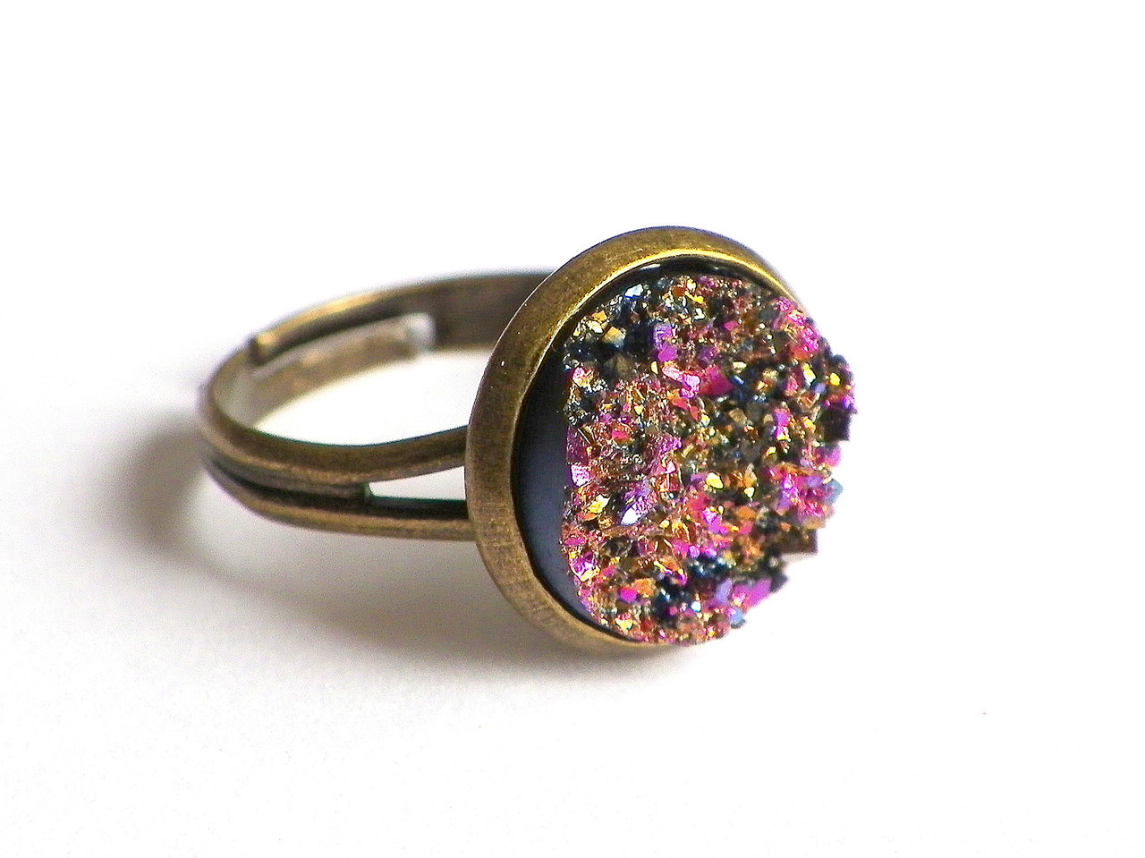 jewelsy handmade golden pink druzy style ring