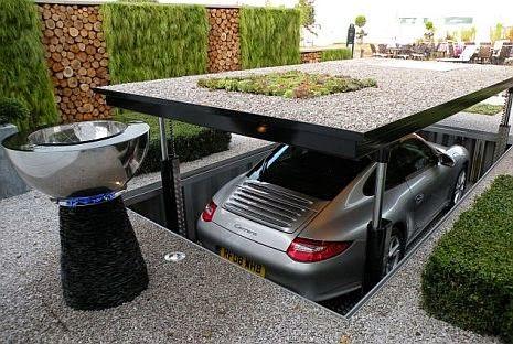 oryginalny garaż samochodowy