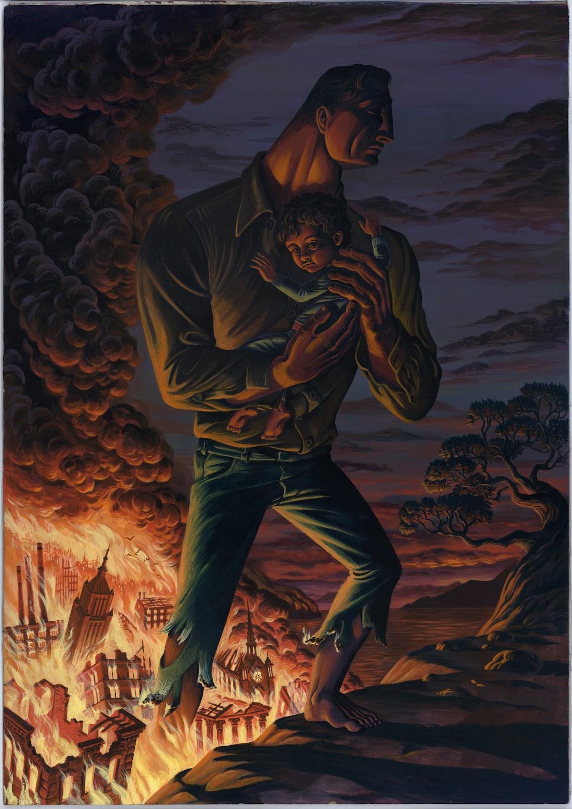 "The Rescue (Acrylic on masonite 17.5"" x 24.5"")"