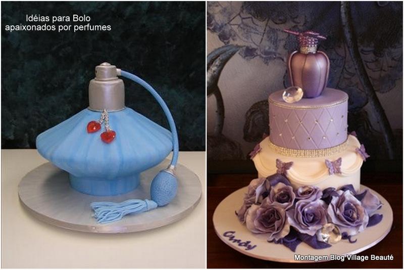 bolos em formato de perfumes