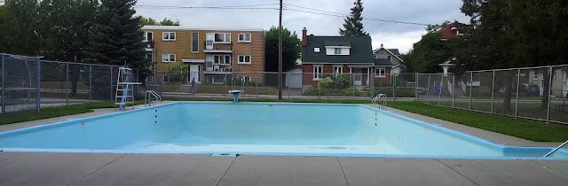 piscine, bleu, clôture, Frost, tremplin, plongeon, maison, logements multiples, parc, arbres