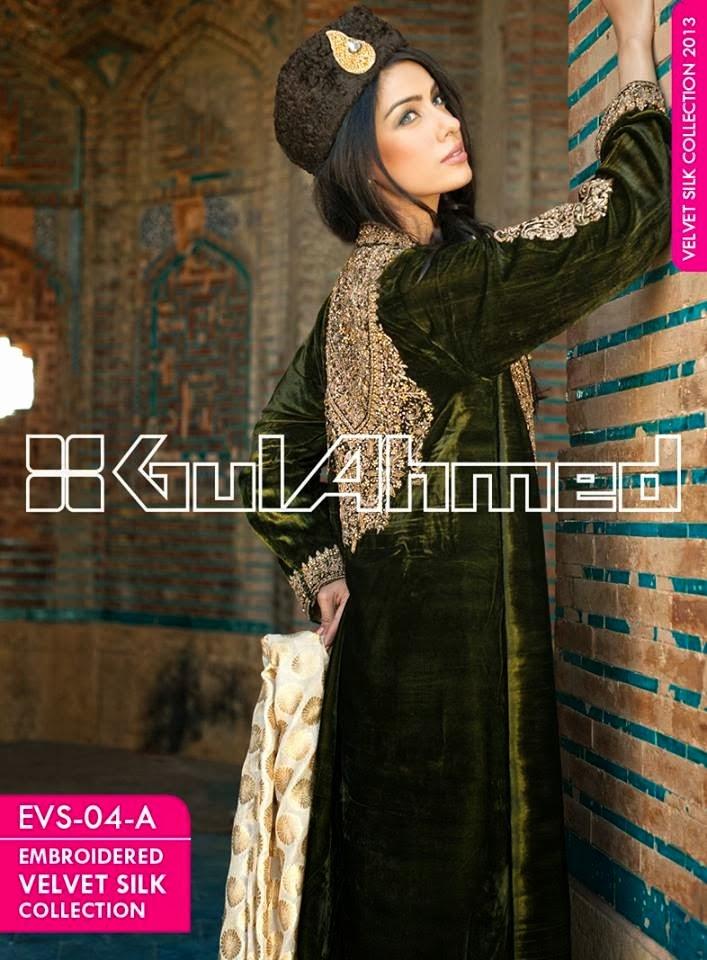 GulAhmedEmbroideredSilkVelvetCoats wwwfashionhuntworldblogspotcom 008 - Gul Ahmed Embroidered Silk Velvet Coats 2014