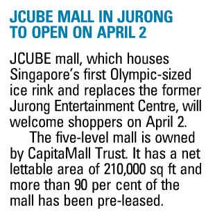 Figure Skating in Singapore: JCube Mall to open 2 April 2012