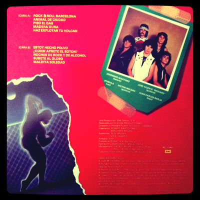 EVO – Animal de Ciudad (1983-EMI) Contraportada