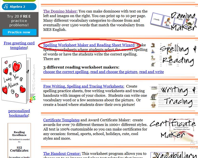 Nurulhuda spelling worksheet maker and reading sheet 1 you have to open httptoolsforeducators 2 then click at spelling worksheet maker and reading sheet wizard ibookread Download