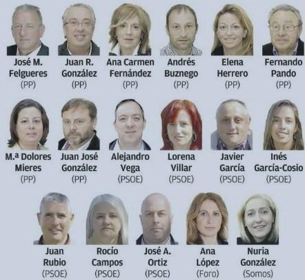 LOS 17 CONCEJALES ELECTOS DEL AYUNTAMIENTO DE VILLAVICIOSA