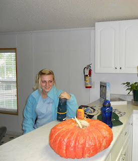 Student admiring Squmpkin harvested at Cedar Ridge Academy co-ed therapeutic boarding school
