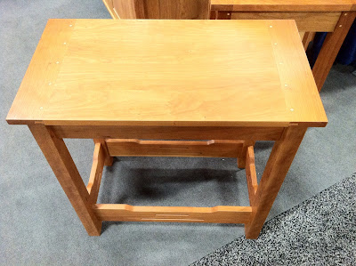 Nice wooden side table at the New England Home Show