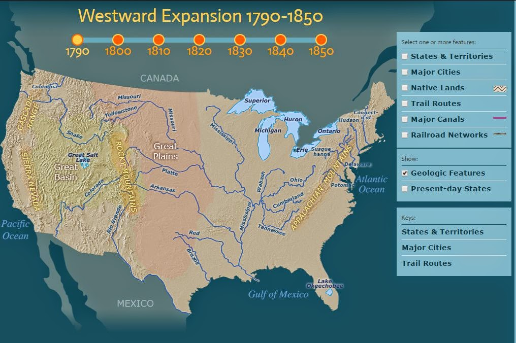 Class 5 102 westward expansion through maps 5 visit the following map map of us rivers and click geological features to see the various rivers in the united states sciox Gallery