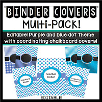 https://www.teacherspayteachers.com/Product/Binder-Covers-Editable-Periwinkle-and-Blue-Dots-Chevron-Theme-736629