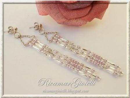 Orecchini a frange realizzati con perline 8/0 e bugles 9 mm