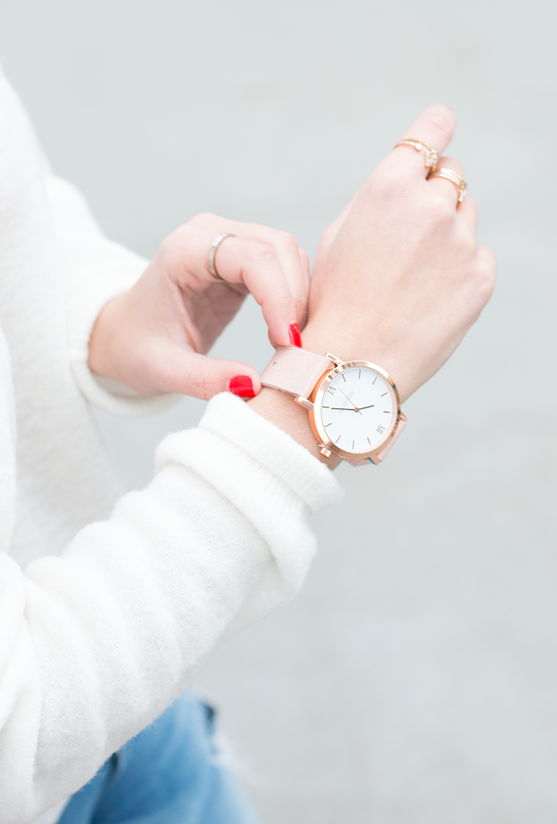 Berg + Betts round face watch in pale pink and rose gold
