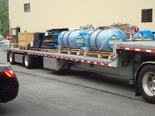 Res-Kem 300 gpm Quadruple Industrial Water softeners being prepared for shipment prior to tarping.