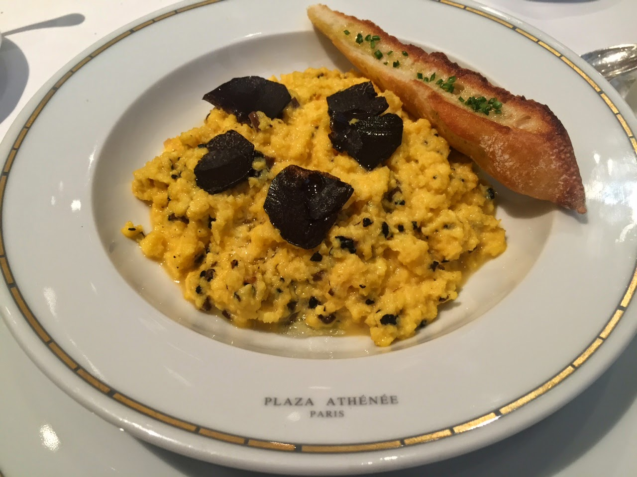 Scrambled eggs with truffles at the Haute Couture Brunch, Alain Ducasse au Plaza Athénée, Paris
