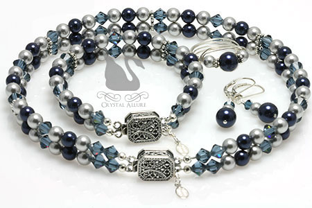 Custom Mother of Groom Blue Pearl Wedding Jewelry Set