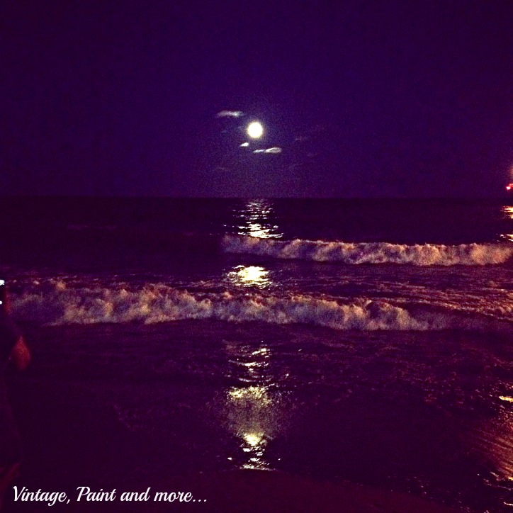 Vintage, Paint and more... super moon over the ocean at night
