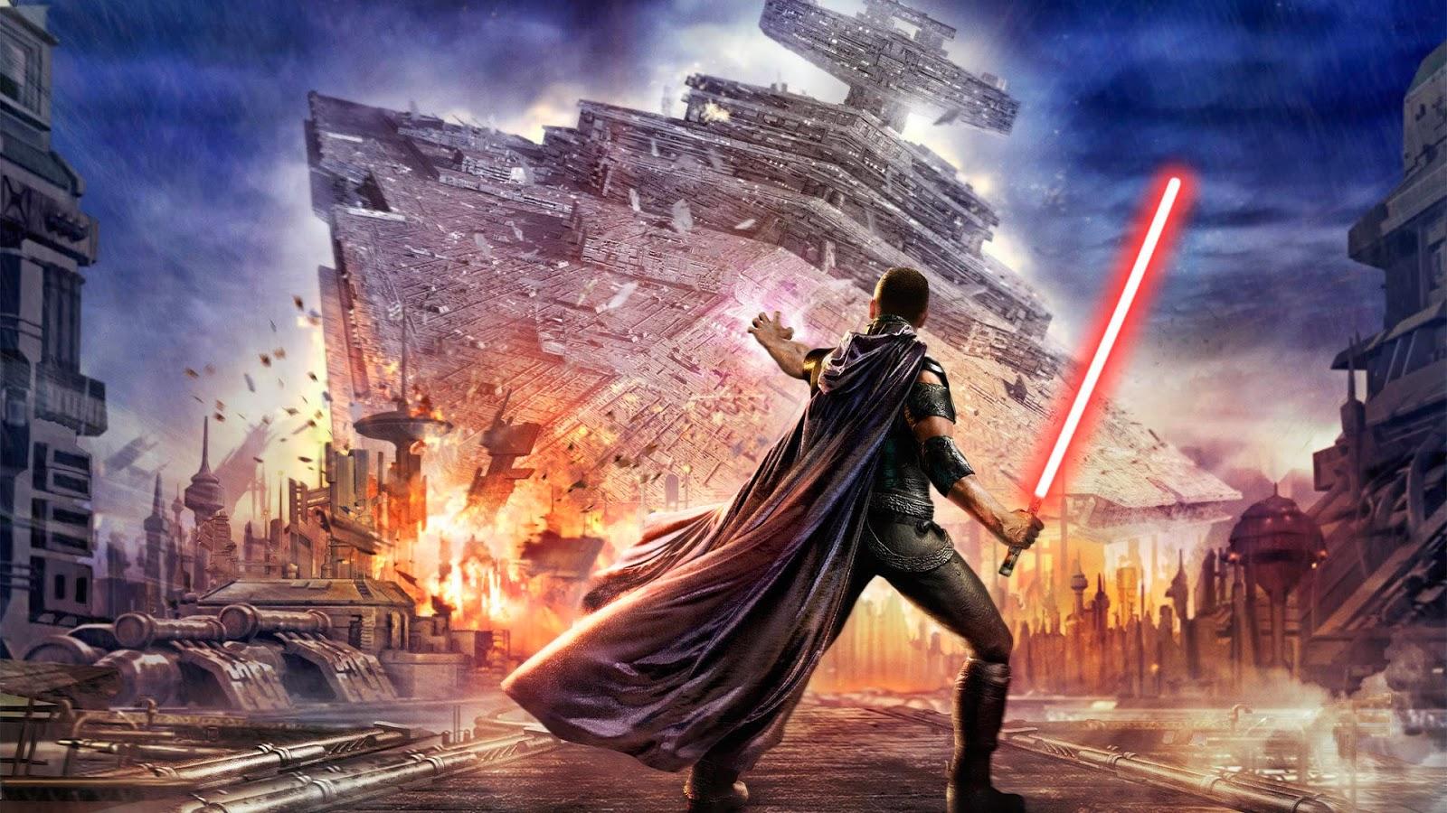 A Jedi taking down a Star Destoyer