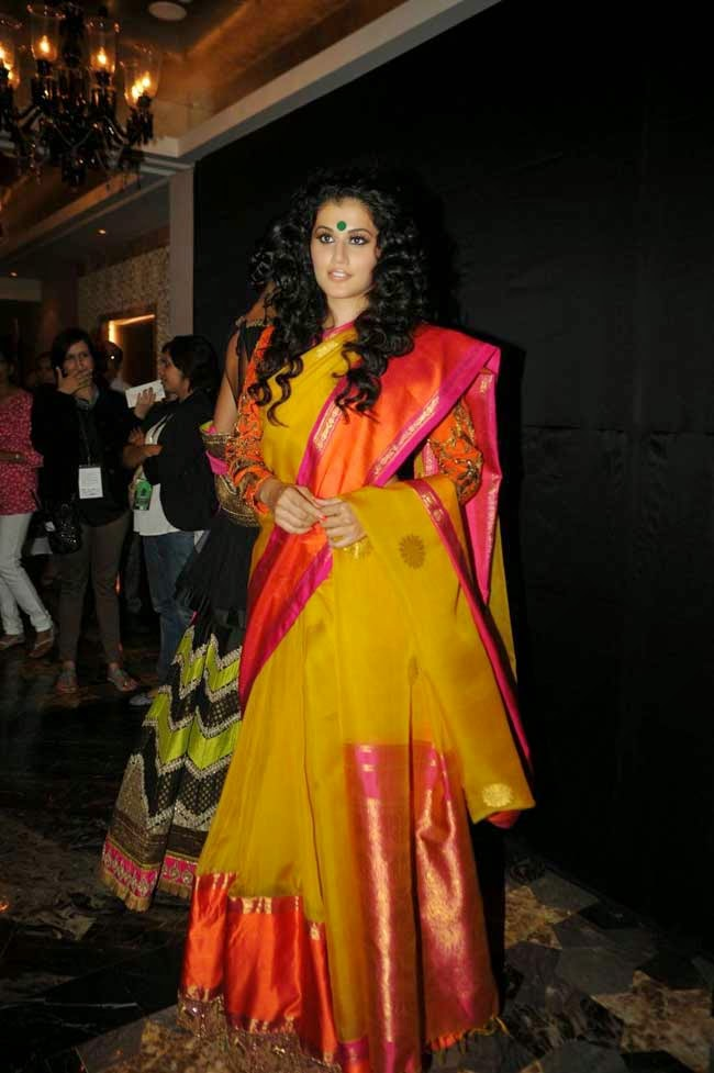 Tapsee Pannu In Yellow Silk Saree