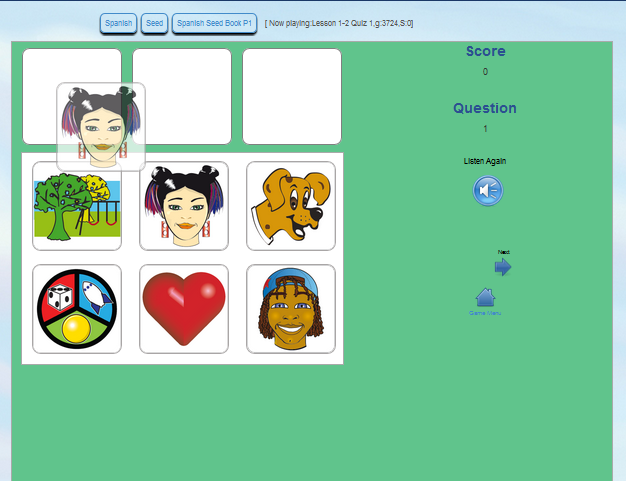 QTalk sentence builder strengthens listening comprehension.