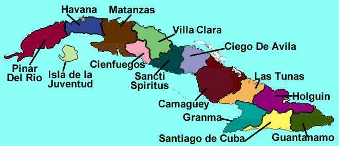 mapa de cuba y sus provincias
