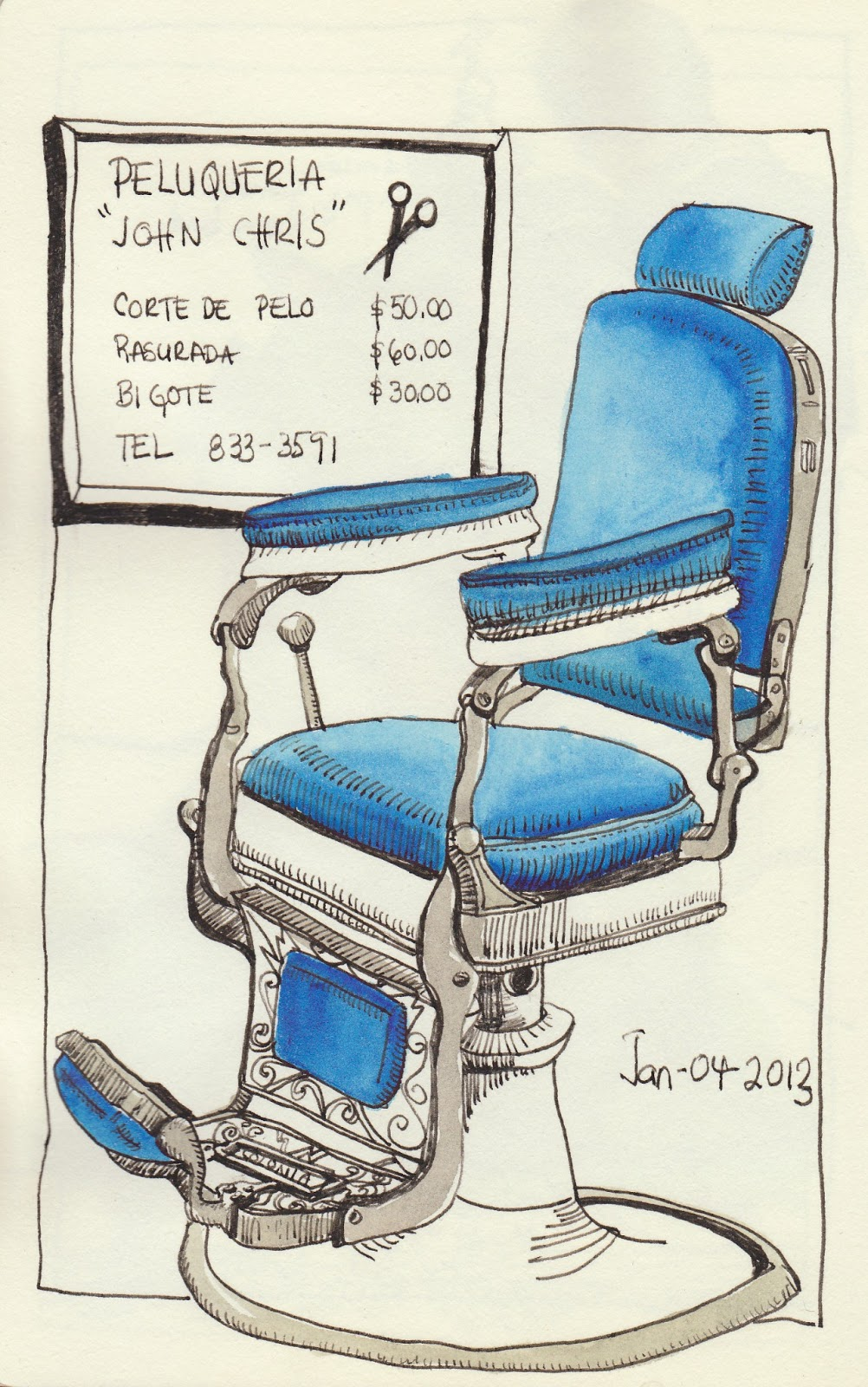Barber chairs drawing - Barber Chair Drawing W