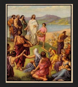 Jesus feeds the multitude - artist unknown