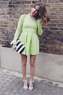 Dress, Neon Green, Lime Green, Long Sleeve, Made In Chelsea, MIC, Millie Mackintosh, Dress, Missguided, Neon, Skater Dress